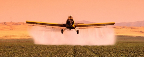 Crop-Duster Spraying Field